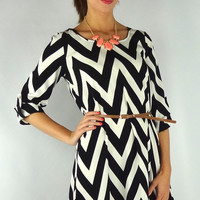 Chevron Striped High Low Belted Dress - Black/White | .H.C.B.