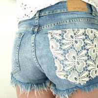 Jean Shorts With Lace by SheaBoutique on Etsy