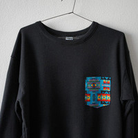 cellophane  AZTECA POCKET FADDED BLACK SWEATSHIRT