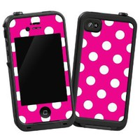 "White Polka Dot on Hot Pink ""Protective Decal Skin"" for LifeProof 4/4S Case"