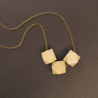 Natural Wooden Necklace /Natural Beige Necklace / GeometricTribal Necklace/ Cube Wooden Bead/ Boho Wooden Necklace, 4everinstlye