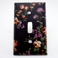 Fabric Light Switch Cover  Purple Garden by ColorMeFabricbyNikki
