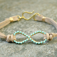 Turquoise Infinity Bracelet Wire Wrapped Gold by AhteesDesigns