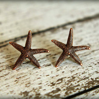 Starfish Earrings in Aged Copper