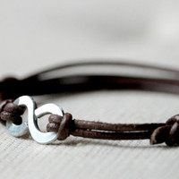 $22.11 For Him Infinity Bracelet  Leather and Aluminium wire  by Kosmika