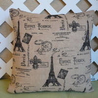 Eiffel Tower Pillow Cover in Beige Burlap with Black French Accents