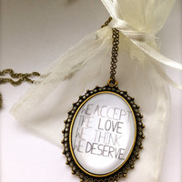 "The Perks Of Being A Wallflower ""We Accept The Love We Think We Deserve"" Stunning Necklace"