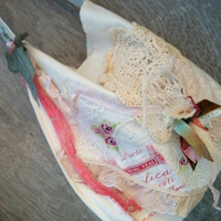 Small Market Bag, Muslin withTattered Lace and Ribbon