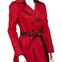 BetseyJohnson.com - LACE TRIM RAINCOAT RED-SLIPPER