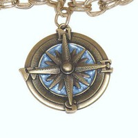 Nautical Metalwork Compass On Double Link Gold Plated by PIFS