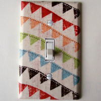 Colorful Bunting Single Toggle Switch Plate, wall decor
