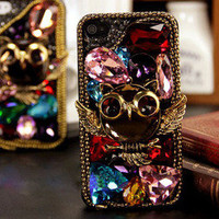 Bestgoods — Retro Unique Owl Rhinestone Hard Cover Case For Iphone 5