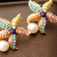 Bestgoods  Colourful Sea Star Pearl Earrings