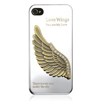 Love Wing Rhinestone Metal Mirror Case for iPhone 4/4S