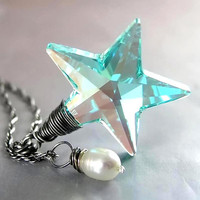 Blue Crystal Star Necklace Swarovski Teal Blue by DorotaJewelry
