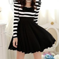 new Fall Lovely Women Ruffle Bowknot White Black Stripe dress S M L