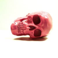 skull head, skeleton, unique art, hipster style, home decor, bubblegum pink, day of the dead