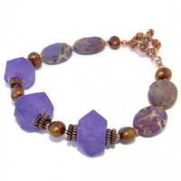 Handmade Bracelet Purple Recycled Glass Sea Sediment Jasper Jewelry