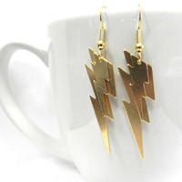 Double Gold Lightning Bolt Earrings by Lucky7Jewelry on Etsy