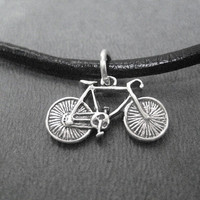 BIKE - 19 1/2 inch Sterling Silver Bike Necklace on 19 1/2 inch Leather and Sterling Silver chain - Unisex Biker - Biker Dad