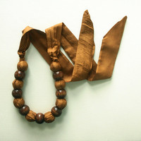 Gold and Brown Chunky Silk & Bead Fabric Necklace by IslaysTerrace