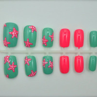 Artificial Nails - &quot;Starfish Splash&quot; - Mint &amp; Coral, Hand Painted, Glue-on Fake Nails