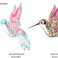 Hummingbird Swirl Wall Sticker Decal