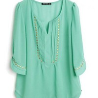 Green Half Sleeve Studded Pintucks Chiffon Blouse