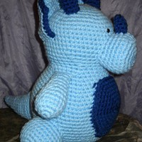 Handmade Crochet Blue Triceratops Dinosaur Stuffed Animal