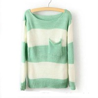 Green White Stripe Pocket Sweater For Women