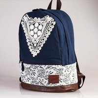 Fashion Crochet Lace Canvas Backpack for Women