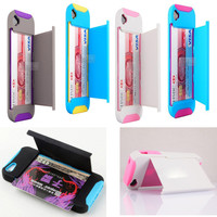 Kickstand Hard and Soft Double Layer with Card location Case for Iphone 5