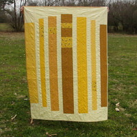 Yellow Lap Quilt, Modern Stripe Quilt, Retro Blanket, Ochre Yellow