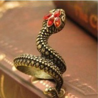 Red Jeweled Snake Wrap Ring - SIZE 5