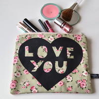Love you heart illustration screen printed make up bag/clutch - Large