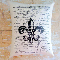 Fleur de Lis Pillow French Script French by parismarketplace