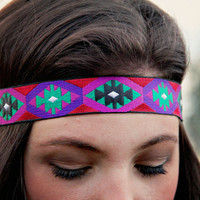 Diamond Ethnic Headband, Indie, elastic closure, Geometric, Native Style, Aztec, Tribal