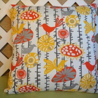 Menagerie Pillow Cover in Beautiful Fall Shades of Orange and Yellow
