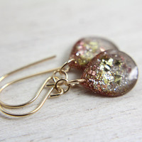 grey teardrop earrings with rose gold and gold by tinygalaxies