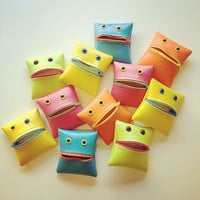 Monster Coin Purse in Neon Colorblock by WoollyMammothDesign