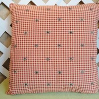 Gingham Check with Bumblebee Print Pillow Cover