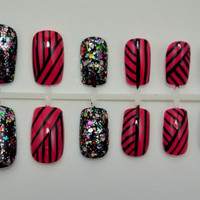 """Artificial Nails - """"Totally Tribal"""" -  Tribal Striped Nails, Pink & Black, Hand Painted, Fake Nails"""