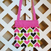 Hearts Print Shoulder Bag for Girls in Hot Pink Lime Green and Black