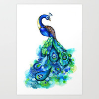 Abstract Peacock Art Print by Annya Kai