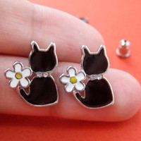 ONE DOLLAR SALE Small Kitty Cat Animal Stud Earrings in Black w Daisy