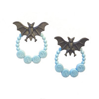 Baby Bat Earrings // black &amp; blue