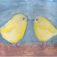 Watercolor painting of 2 fluffy chicks baby chickens  by cat2owl