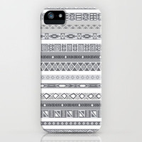 Silver Black &amp; White Aztec Pattern iPhone Case by RexLambo | Society6