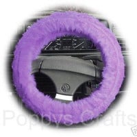 Lilac faux fur furry car Steering wheel cover