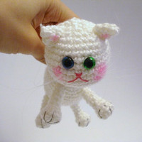 Amigurumi Cat Crochet Cat Kitten Art Doll White Cat by AllSoCute